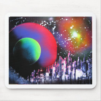 Spray Paint Art City Space Landscape Painting Mouse Pad