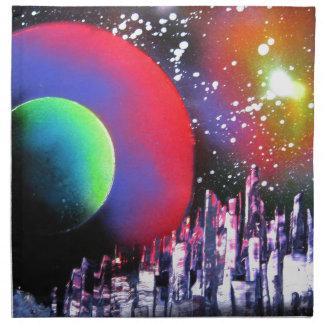 Spray Paint Art City Space Landscape Painting Napkin