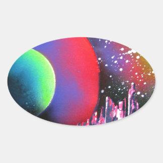 Spray Paint Art City Space Landscape Painting Oval Sticker