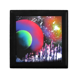 Spray Paint Art City Space Landscape Painting Small Square Gift Box