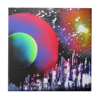 Spray Paint Art City Space Landscape Painting Small Square Tile