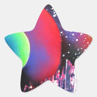 Spray Paint Art City Space Landscape Painting Star Sticker