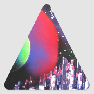 Spray Paint Art City Space Landscape Painting Triangle Sticker