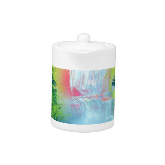 Spray Paint Art Forest Waterfall Sunset Painting