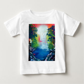 Spray Paint Art Forest Waterfall Sunset Painting Baby T-Shirt