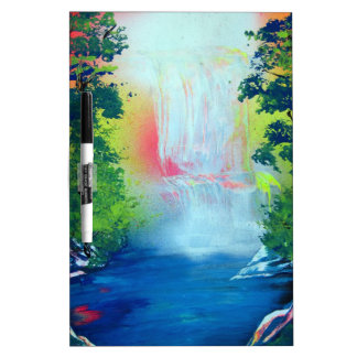 Spray Paint Art Forest Waterfall Sunset Painting Dry Erase Board