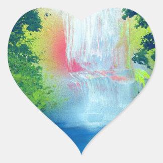 Spray Paint Art Forest Waterfall Sunset Painting Heart Sticker