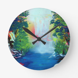Spray Paint Art Forest Waterfall Sunset Painting Round Clock