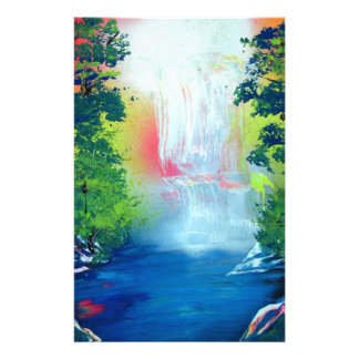 Spray Paint Art Forest Waterfall Sunset Painting Stationery