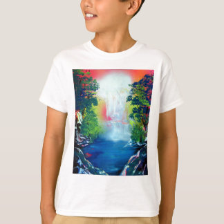Spray Paint Art Forest Waterfall Sunset Painting T-Shirt