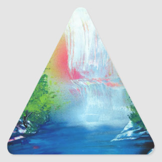 Spray Paint Art Forest Waterfall Sunset Painting Triangle Sticker