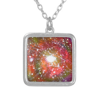 Spray Paint Art Night Sky Space Painting Silver Plated Necklace