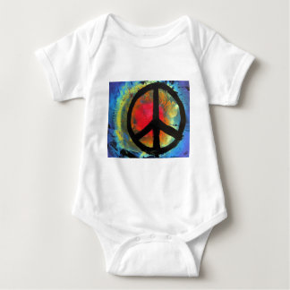 Spray Paint Art Rainbow Peace Sign Painting Baby Bodysuit