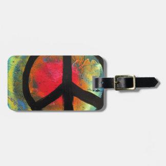 Spray Paint Art Rainbow Peace Sign Painting Bag Tag