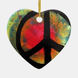 Spray Paint Art Rainbow Peace Sign Painting Ceramic Ornament