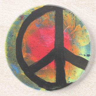Spray Paint Art Rainbow Peace Sign Painting Coaster