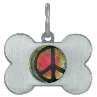 Spray Paint Art Rainbow Peace Sign Painting Pet ID Tag