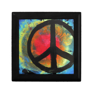 Spray Paint Art Rainbow Peace Sign Painting Small Square Gift Box