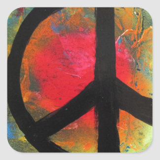 Spray Paint Art Rainbow Peace Sign Painting Square Sticker