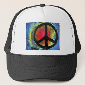 Spray Paint Art Rainbow Peace Sign Painting Trucker Hat