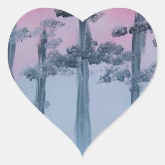 Spray Paint Art Sky and Trees Heart Sticker
