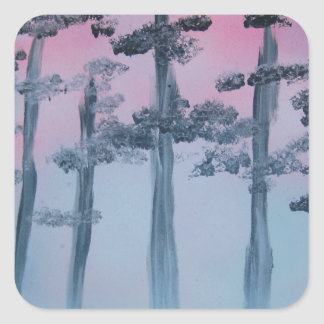 Spray Paint Art Sky and Trees Square Sticker