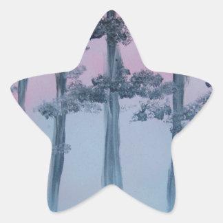 Spray Paint Art Sky and Trees Star Sticker