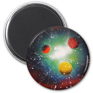 Spray Paint Art Space Galaxy Painting 6 Cm Round Magnet