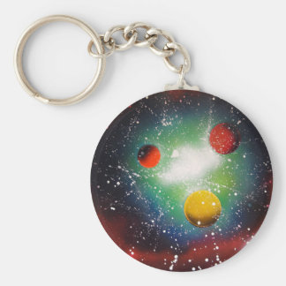 Spray Paint Art Space Galaxy Painting Basic Round Button Key Ring