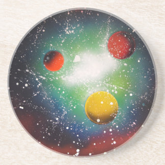 Spray Paint Art Space Galaxy Painting Coaster