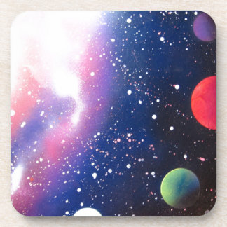 Spray Paint Art Space Galaxy Painting Coasters