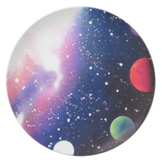 Spray Paint Art Space Galaxy Painting Dinner Plates