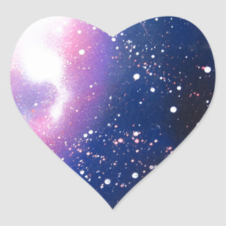 Spray Paint Art Space Galaxy Painting Heart Sticker