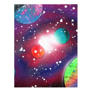 Spray Paint Art Space Galaxy Painting Postcard
