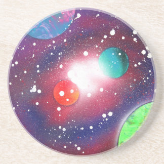 Spray Paint Art Space Galaxy Painting Sandstone Coaster