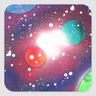 Spray Paint Art Space Galaxy Painting Square Sticker