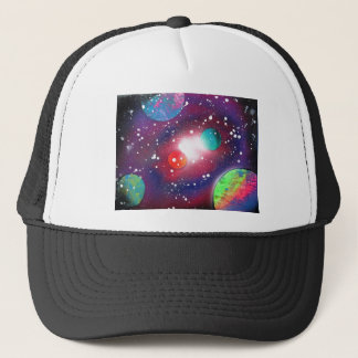 Spray Paint Art Space Galaxy Painting Trucker Hat
