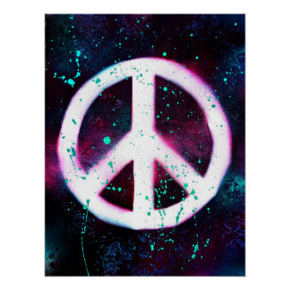Spray Painted Peace Sign Poster
