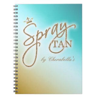 Spray Tan Gold Glitter Crown Blue Notebook