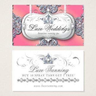 Spray Tanning Loyalty Card Elegant Crown Glitter
