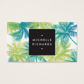 Spray Tanning Salon Blue/Green Palms Business Card