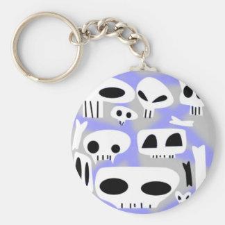 Spraypaint Emo Skulls Bones Keychain