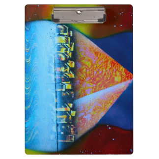 Spraypainting guitar pyramid city water clipboards