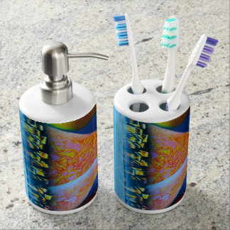 Spraypainting guitar pyramid city water bath accessory sets