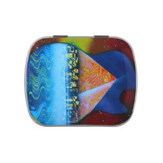 Spraypainting guitar pyramid city water jelly belly candy tin