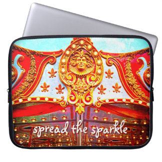 """Spread Sparkle"" Quote Gold Carousel Face Photo Laptop Sleeve"