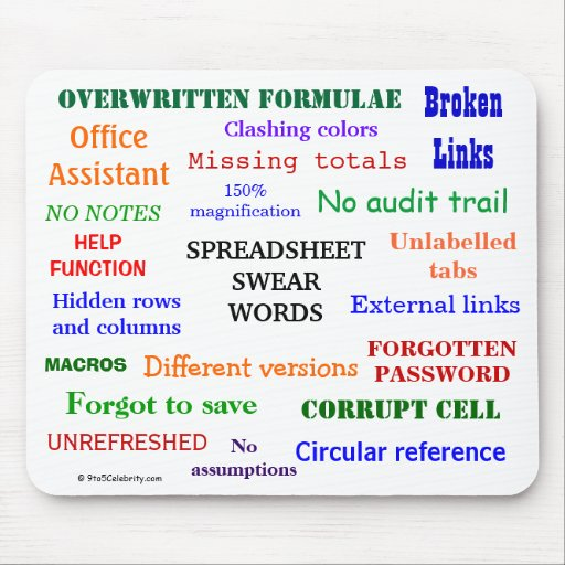 Spreadsheet Swear Words - Spreadsheet Cuss Terms Mouse Pads