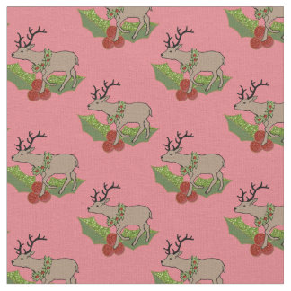 Sprig of Holly and a Christmas Reindeer Fabric