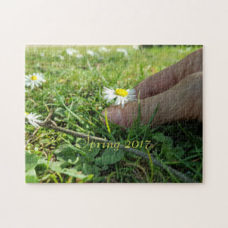 Spring 2017, Picking Daisy Flowers, Child Hand Jigsaw Puzzle