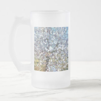 Spring Almond Blossom Frosted Glass Beer Mug